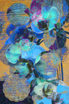 Photograph - Asian Orchid Abstract Blue by Suzanne Powers