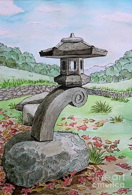 Green Lantern Drawing - Asian Stone Pagoda Lantern II by Jennifer Niemiroski