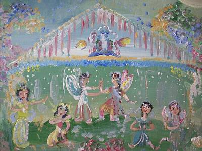 Art Print featuring the painting Asian Party Fairies by Judith Desrosiers