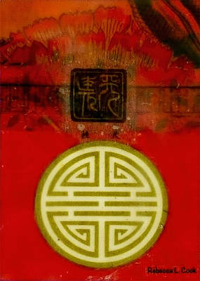 Collage Painting - Asian Red Encaustic by Bellesouth Studio