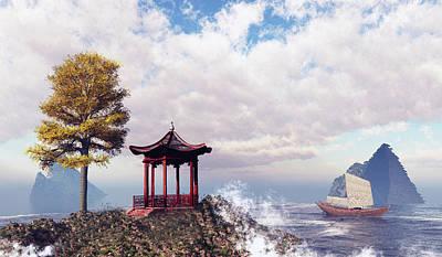 Asian Seascape Scene Original by John Junek