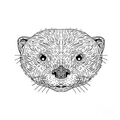 Otter Digital Art - Asian Small-clawed Otter Head Drawing by Aloysius Patrimonio