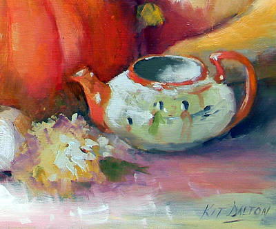Painted Gourds Painting - Asian Teapot by Kit Dalton