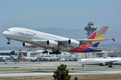 Print featuring the photograph Asiana Airbus A380-800 Hl7626 Los Angeles International Airport May 3 2016 by Brian Lockett