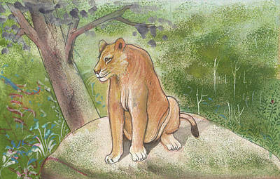 Asiatic Lion State Animal Of Gujarat Wild Life Forest Animal Miniature Watercolor Artwork Art Print