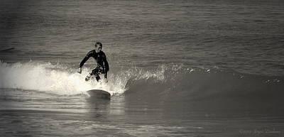 Photograph - Asilomar Surfing In Blackandwhite by Joyce Dickens