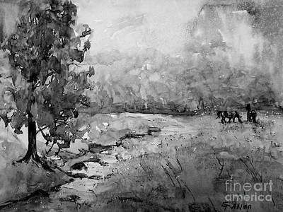 Painting - Aska Farm Horses In Bw by Gretchen Allen