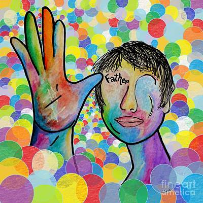 Asl Father On A Bright Bubble Background Art Print