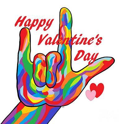 Asl Happy Valentine's Day I Love You Art Print