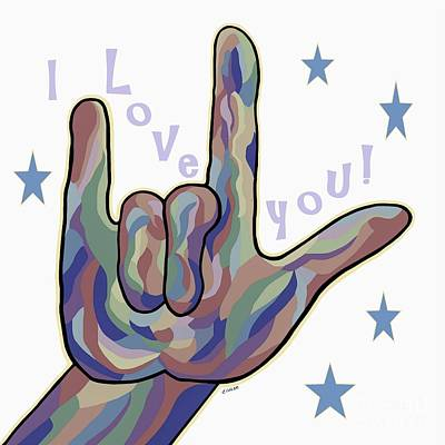 American Painting - Asl I Love You Denim Colors by Eloise Schneider