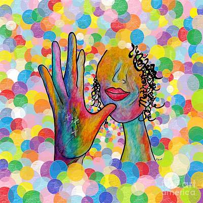 Asl Mother On A Bright Bubble Background Art Print