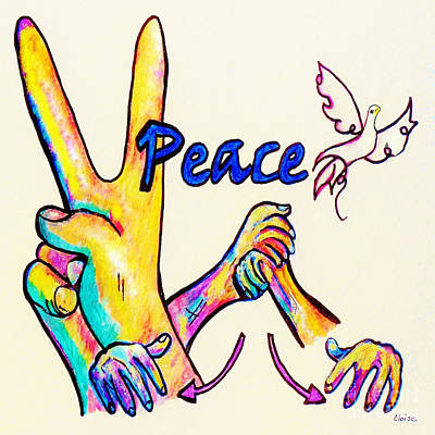Peace Painting - Asl Peace by Eloise Schneider