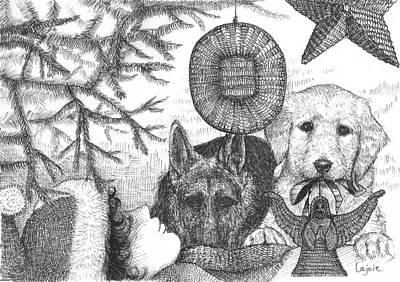 German Shepard Drawing - Asleep Under The Tree by David Lajoie