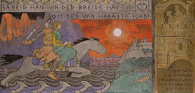 Painting - Asmund And The Princess Riding Home by Gerhard Munthe