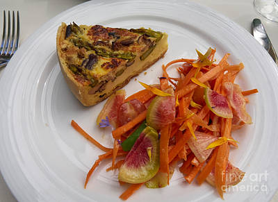 Asparagus And Mushroom Quiche With A Carrot And Radish Salad Art Print by Louise Heusinkveld
