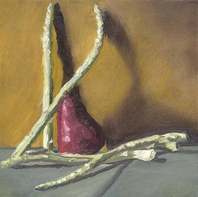 Wall Art - Painting - Asparagus And Pear by Katherine Farrell