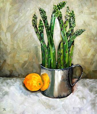 Sterling Painting - Asparagus In A Sterling Cup by Amy Higgins