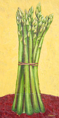 Asparagus On Red Original by Jacqueline Cornette
