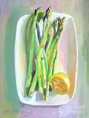 Asparagus Painting - Asparagus Plate by David Lloyd Glover