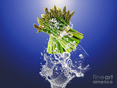 Asparagus Mixed Media - Asparagus Splash by Marvin Blaine