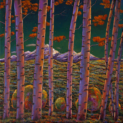 Autumn Scene Painting - Aspen At Night by Johnathan Harris