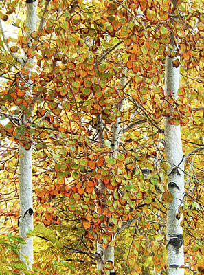 Digital Art - Aspen Autumn Glory by Ann Johndro-Collins