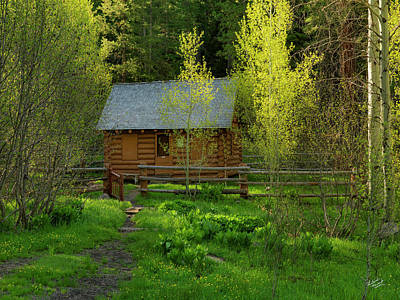 Old Log Cabin Photograph - Aspen Cabin by Leland D Howard