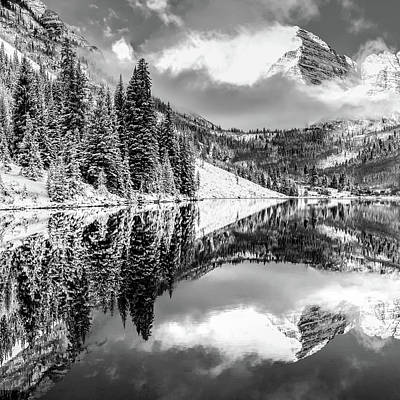Photograph - Aspen Colorado Maroon Bell Landscape Reflections 1x1 Black And White by Gregory Ballos
