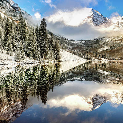 Photograph - Aspen Colorado Maroon Bell Landscape Reflections 1x1 by Gregory Ballos