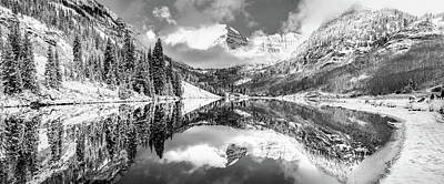 Photograph - Aspen Colorado Maroon Bells Black And White Panorama by Gregory Ballos