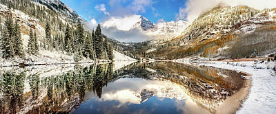 Photograph - Aspen Colorado Maroon Bells Panorama by Gregory Ballos