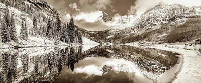 Photograph - Aspen Colorado Maroon Bells Panorama - Sepia Edition by Gregory Ballos