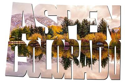 Colorado Ski Art Wall Art - Photograph - Aspen Colorado Typography - Reflective Morning by Gregory Ballos