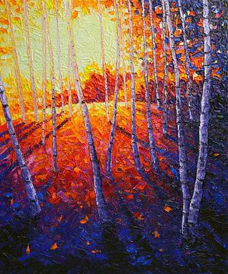 Painting - Aspen Forest Glade At Sunrise Modern Impressionist Palette Knife Oil Painting By Ana Maria Edulescu by Ana Maria Edulescu