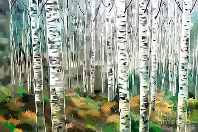 Painting - Aspen-green-blue by Tim Gilliland