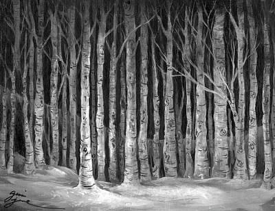Gina Gray Painting - Aspen Grove At Midnight by Gina Jane
