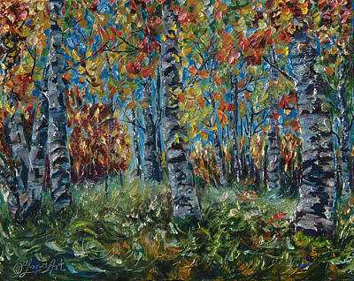 Painting - Aspen Grove Palette Knife Painting by OLena Art Brand