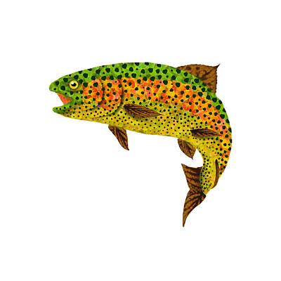Digital Art - Aspen Leaf Rainbow Trout 1 by Agustin Goba
