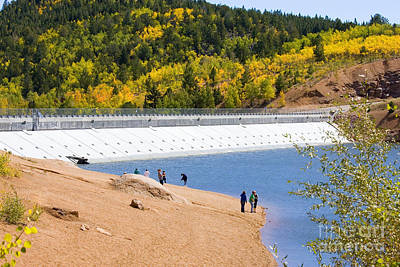 Steven Krull Royalty-Free and Rights-Managed Images - Aspen Leaves and Crystal Reservoir Dam on Pikes Peak by Steven Krull