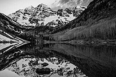 Photograph - Aspen Maroon Bells Monochrome Reflections by Gregory Ballos
