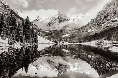 Photograph - Aspen Maroon Bells Sepia Mountain Landscape by Gregory Ballos