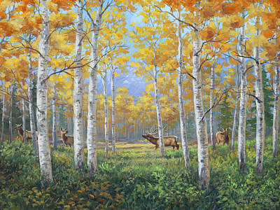 Wall Art - Painting - Aspen Meadow Courtship by Guy Crittenden
