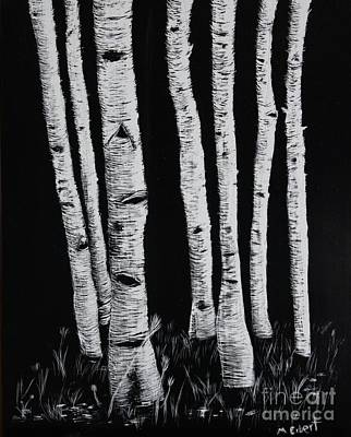 Drawing - Aspen Stand 2 by Mary Erbert