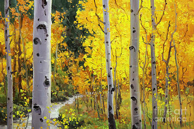Rocky Mountain National Park Painting - Aspen Stream by Gary Kim