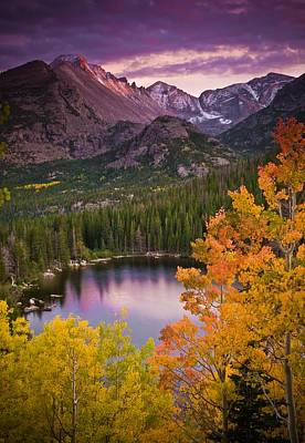 Rights Photograph - Aspen Sunset Over Bear Lake by Mike Berenson