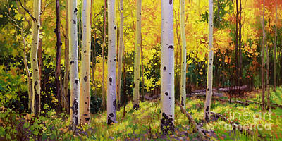 Rocky Mountain National Park Painting - Aspen Symphony by Gary Kim