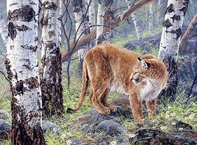 Painting - Aspen Tree Cougar by Brian Durfee