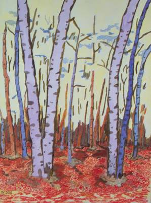 Art Print featuring the painting Aspen Trees by Connie Valasco