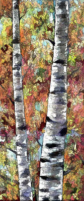 Painting - Aspen Trees  by OLena Art Brand
