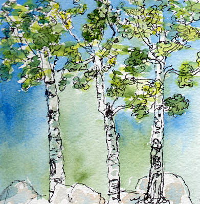 Painting - Aspen Trio by Mary Benke